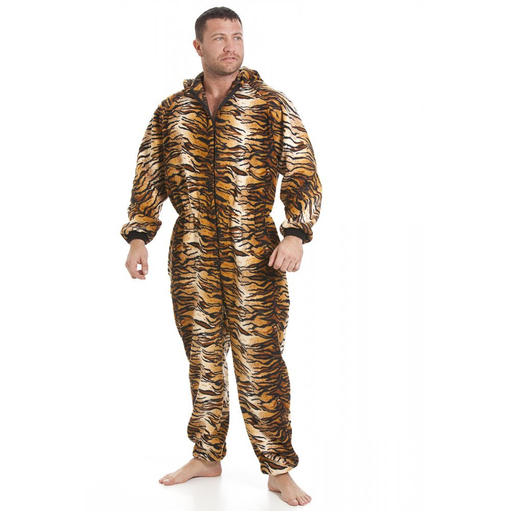 Men's All in One Tiger Fleece Pajama Onesie hooded jumpsuit xxl