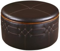Large Round Tufted Leather Ottomans With Storage ~Olivia's ...