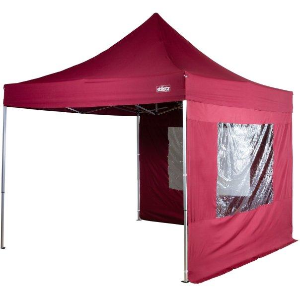 STILISTA® Faltpavillon 3x3m, 2 Seitenteile, WASSERDICHT, versiegelte Nähte, EV1 Voll-Aluminium, Tragetasche von STILISTA®