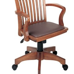 Chair Steel Base With Wheels Covers For Home Wood Bankers Desk Vinyl Seat Padded