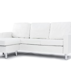 Modern White Compact Leather Sectional Sofa Belize Storage Bed With Chaise Bonded Small Space