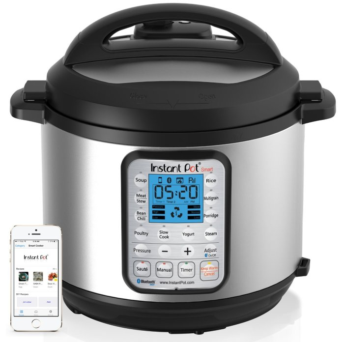 Amazon.com : Instant Pot IP-Smart Bluetooth Pressure Cooker Just got this pressure cooker (Feb 2015) as an upgrade to our rice cooker for more functionality. Did we *need* Bluetooth? Probably not. But we found a great deal on it pre-launch.