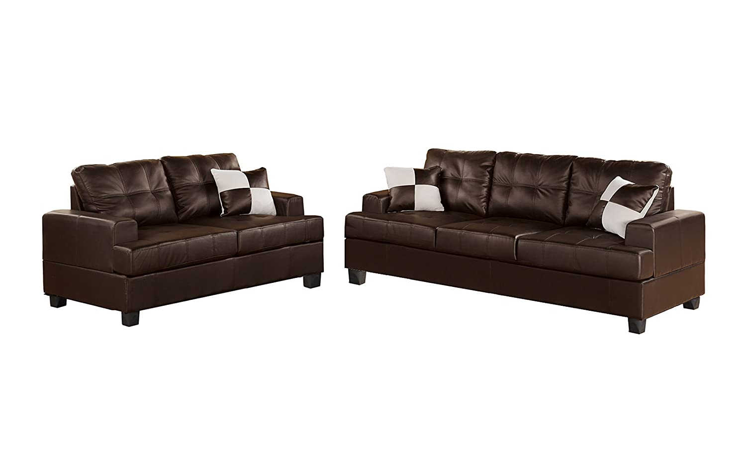 espresso bonded leather reclining sofa loveseat set coaster reviews 2 piece accent pillows living