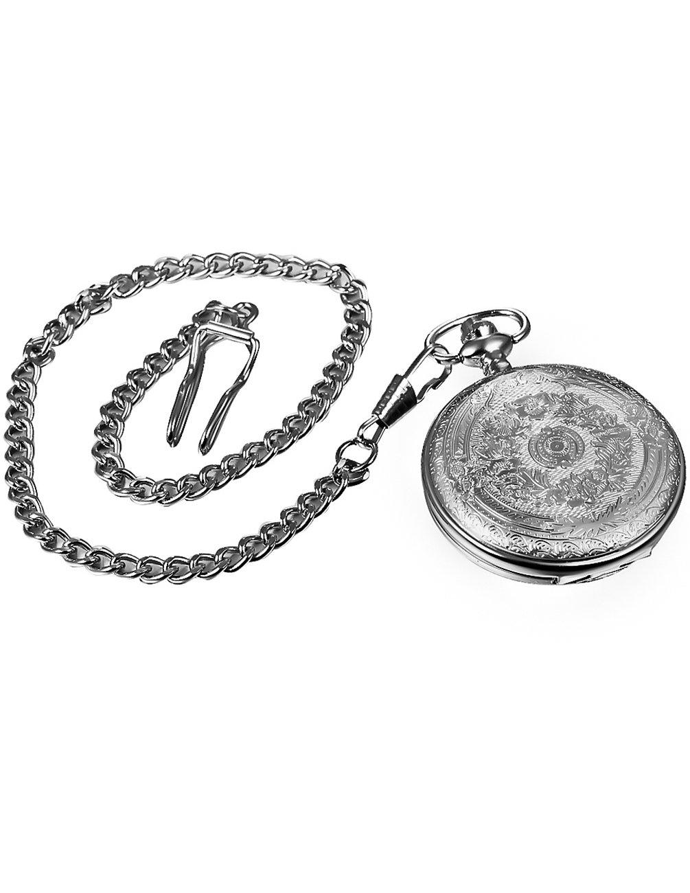 Mudder Vintage Silver Stainless Steel Quartz Pocket Watch