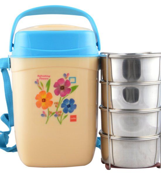 Cello Relish Insulated 4 Container Lunch Carrier, Blue