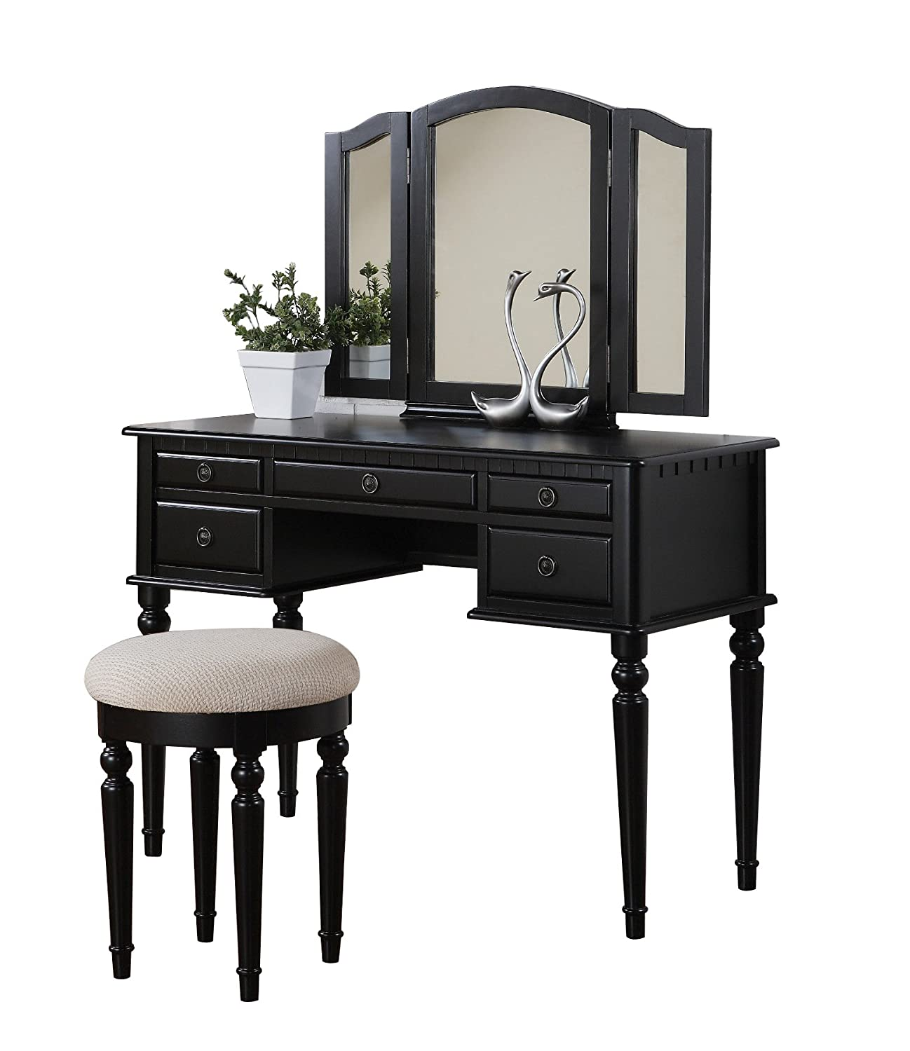 Black Wooden Vanity Bedroom Dresser Makeup Cosmetic Mirror Bedroom Furniture New  eBay