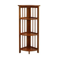 Wall Corner Book Shelves Bookcase Display Cabinet 4 Shelf ...