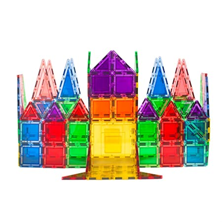 MagWorld Toys 100-Piece Creator Magnetic Tile Building Set, Clear Colors