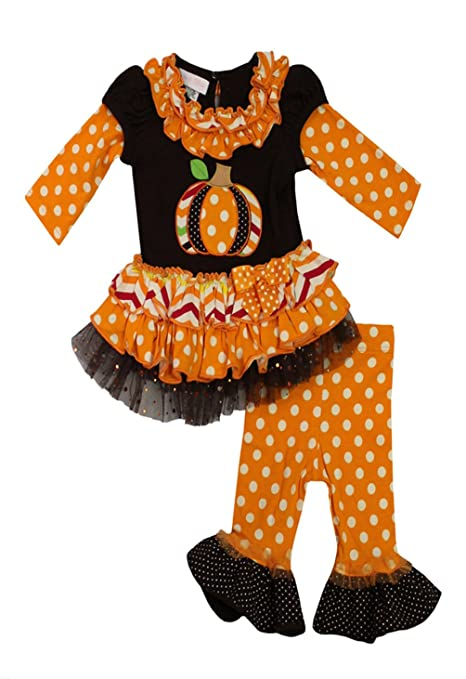Bonnie Jean Little Girls' Patch Work Pumpkin Harvest Tunic Dress & Leggings Set