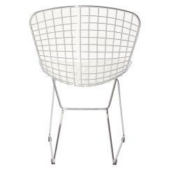 Bertoia Style Chair White French Writing Fabric Chairs Lexmod Side With Cushion