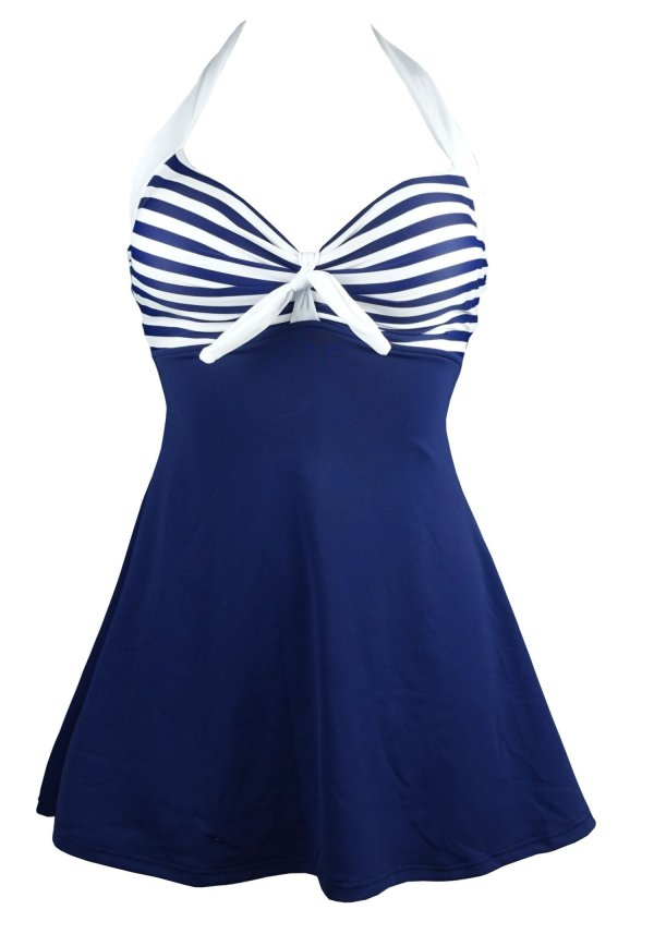 Cocoship Vintage Sailor Pin Swimsuit Piece Skirtini