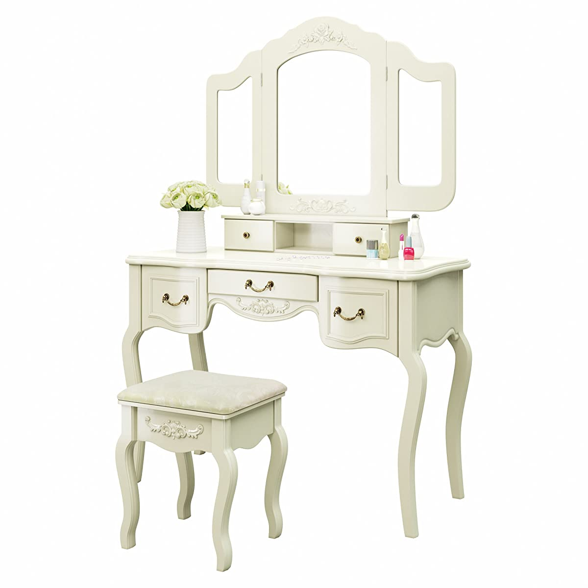 white bedroom vanity chair evenflo quatore 4 in 1 high tribesigns french vintage ivory dressing