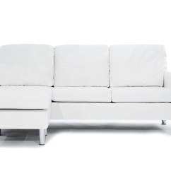Modern White Compact Leather Sectional Sofa Portland Sofas Bonded Small Space