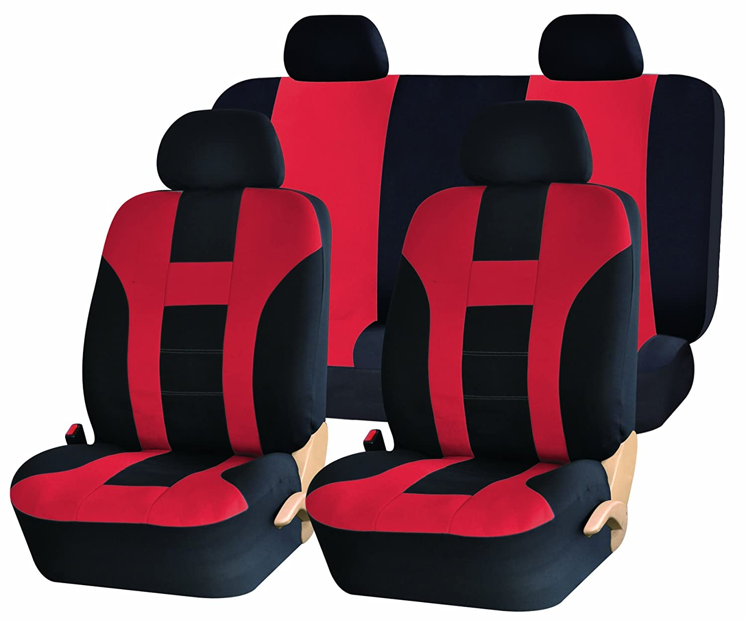 Racing Style Black And Red Vinyl Car Recliner Universal