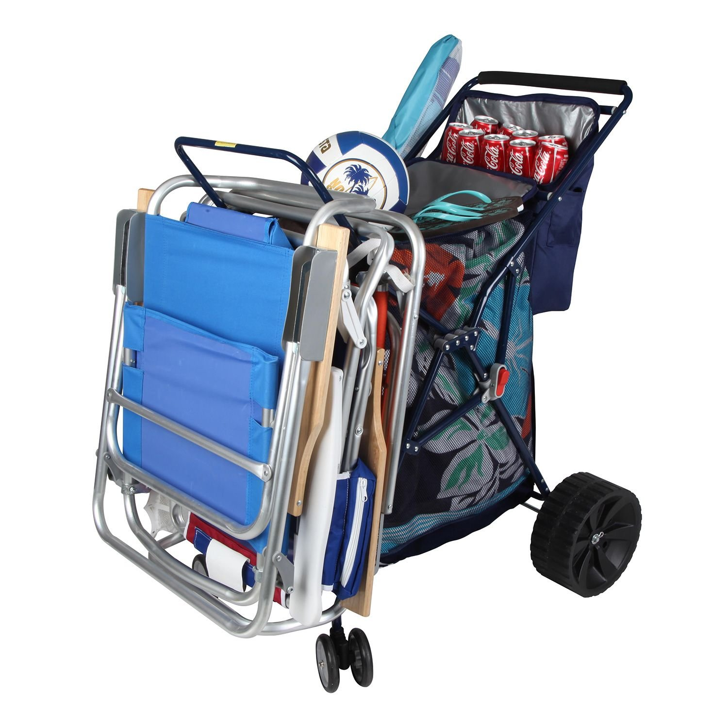 beach chairs on wheels swivel chair gif folding cart with cooler color blue large