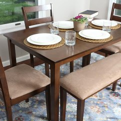 Dining Set With Bench And Chairs Nils Chair Cover Pattern 4 Person 5 Piece Kitchen Table 1 3