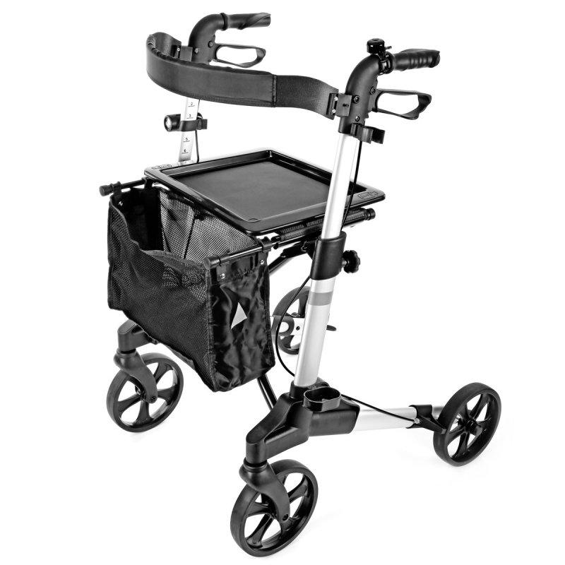 Rollator mit Sitzfläche, Tragetasche, Ankipphilfe und Taschenlampe ALU klappbar von Profi-Gruppe