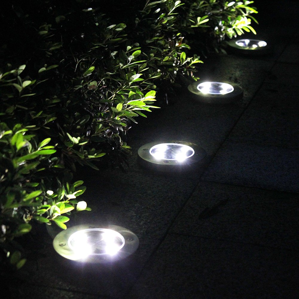 Tomshine 4Pcs 4 LED Solar Lights Outdoor Ground Lights