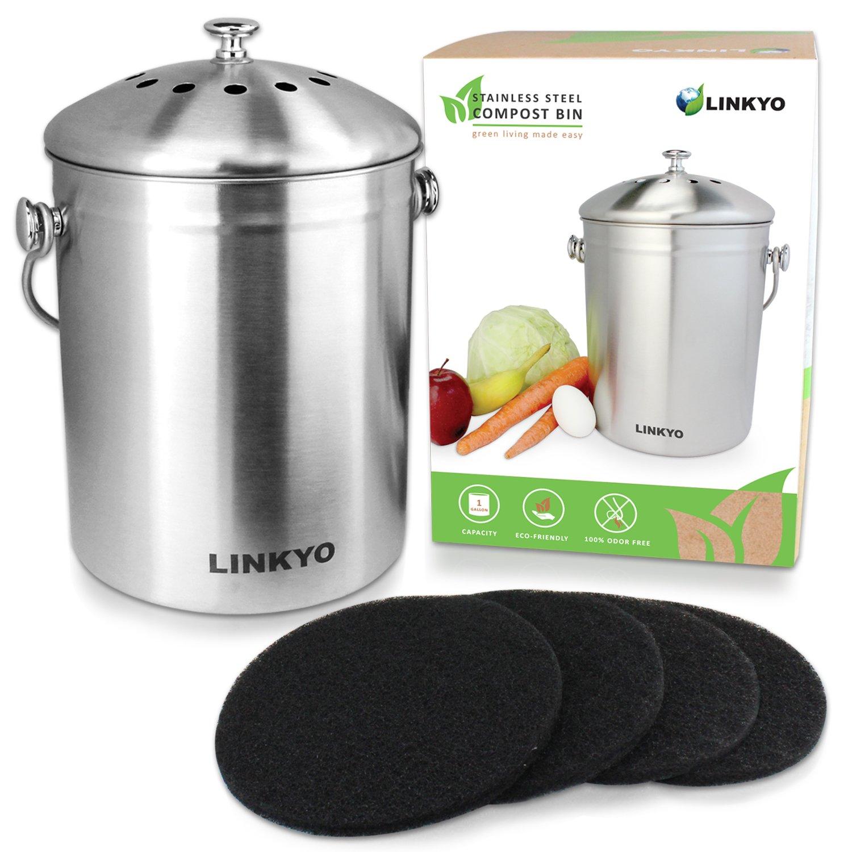LINKYO Kitchen Compost Bin  1 Gallon Stainless Steel