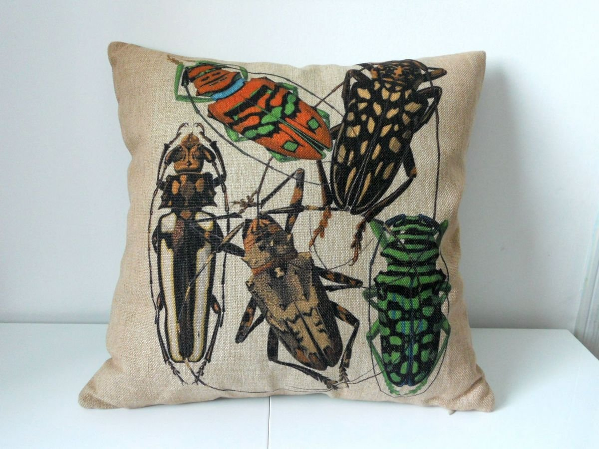 "Decorbox Cotton Linen Square Decorative Throw Pillow Case Cushion Cover Long-horned Beetles Longicorn 18 ""X18 """