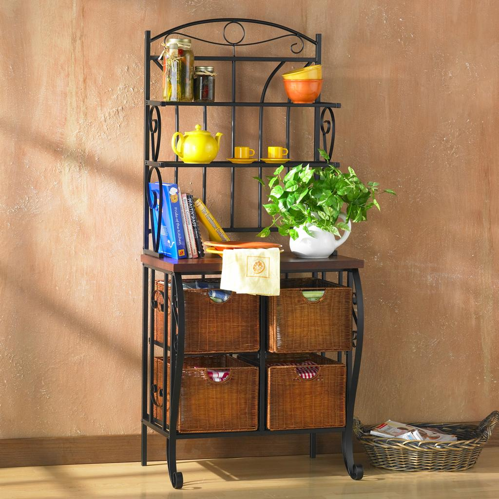 bakers racks for kitchen dining room paint colors amazon sei iron wicker baker 39s rack free standing