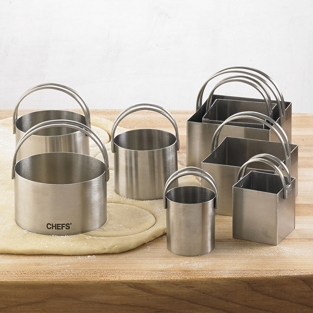 8-pc. Stainless Steel Round and Square Biscuit Cutters