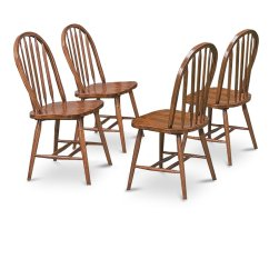 Dark Wooden Dining Room Chairs Posture Kneeling Chair Uk 4 Oak Stain Kitchen Arrow Back Set