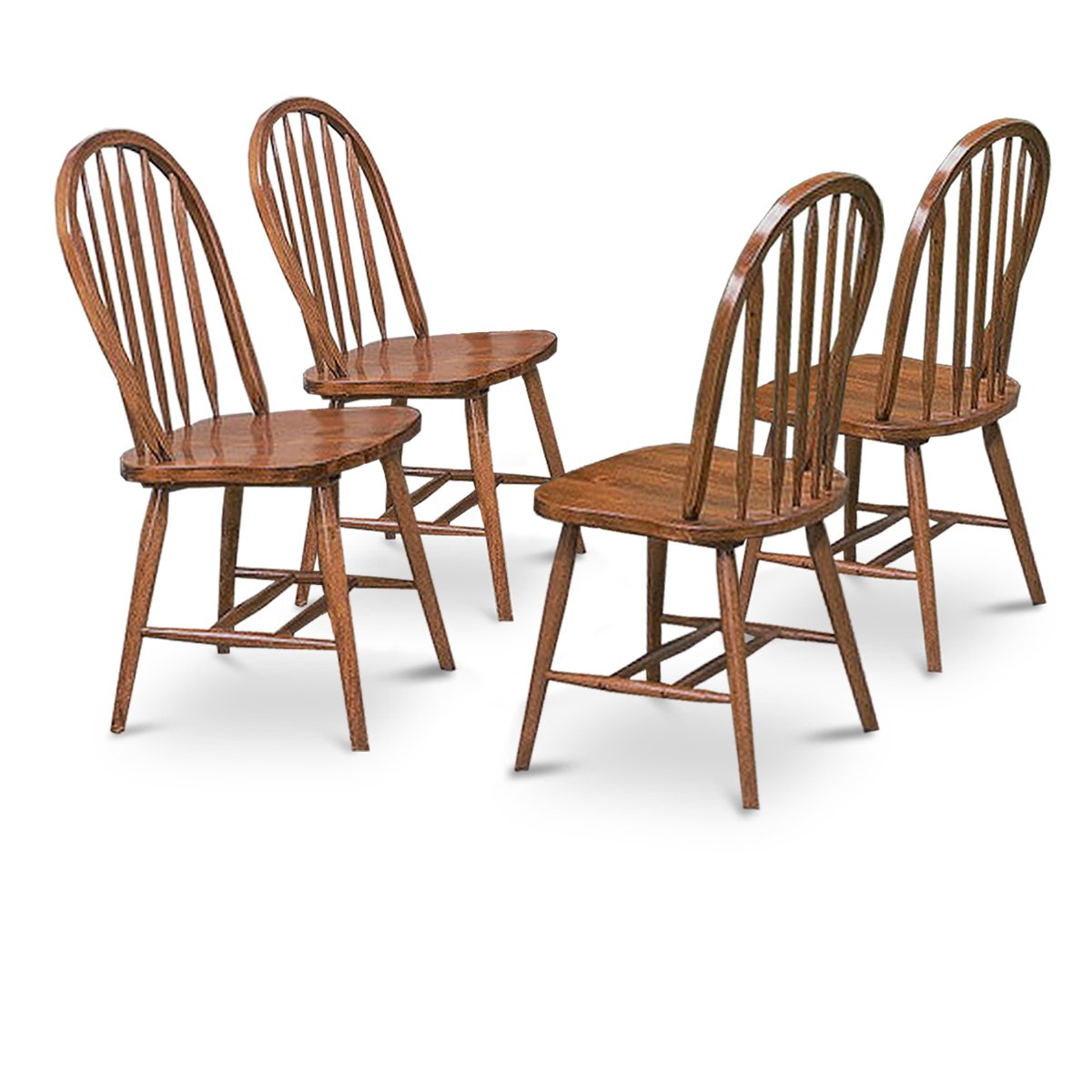 oak kitchen chairs swivel kijiji peterborough 4 dark stain dining arrow back set