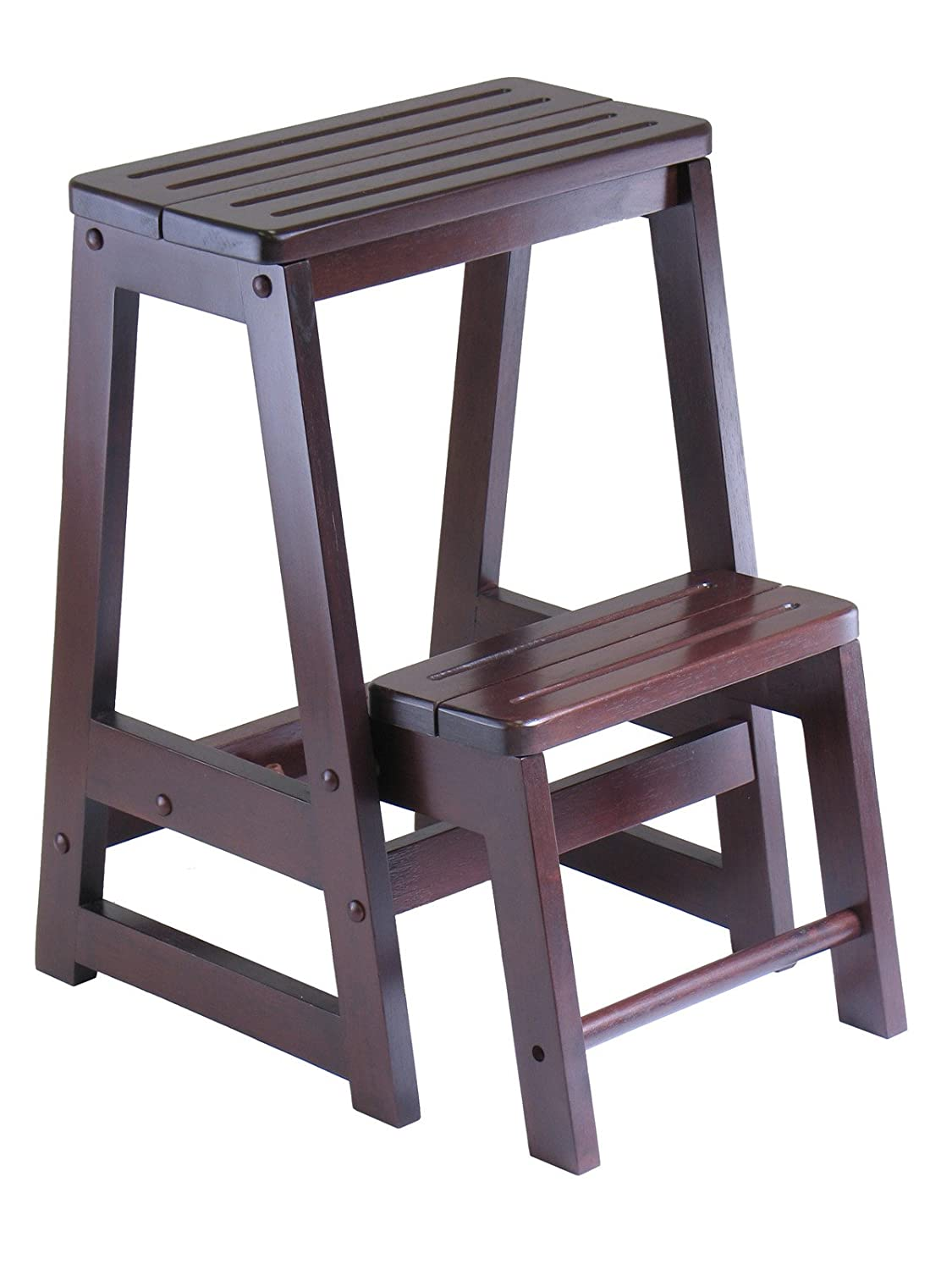 chair step stool red glider winsome wood antique walnut new free