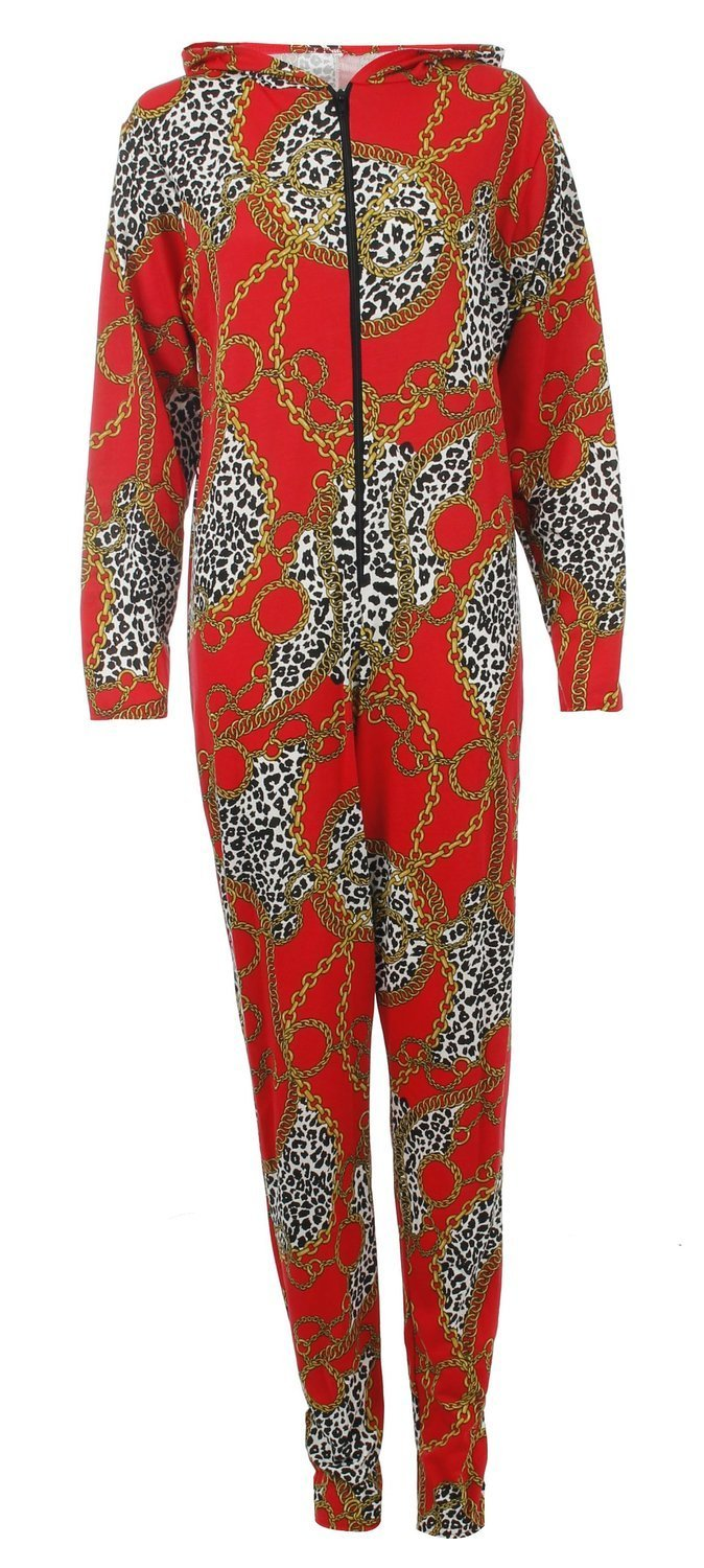 Womens Red Leopard Gold Chain Print Hooded Onesie Jumpsuit