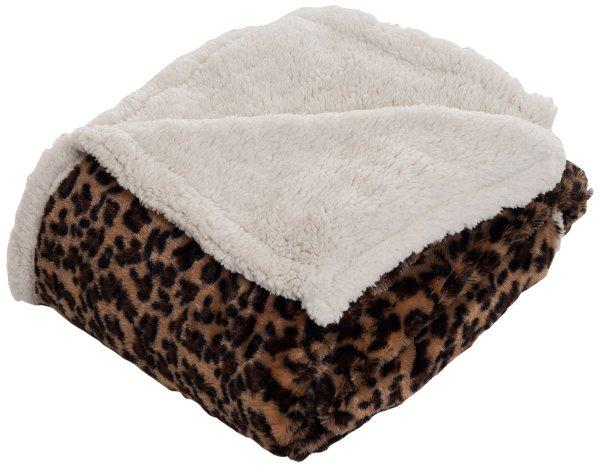 Bedford Home Throw Blanket Fleece Sherpa Leopard