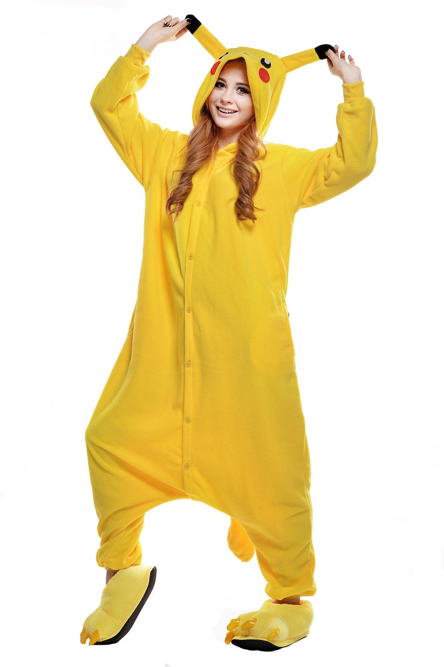 Newcosplay Unisex Pikachu Pyjamas Kigurumi Halloween Onesie Costume