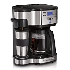 Hamilton Beach Single Serve Coffee Brewer and Full Pot Coffee Maker, 2-Way – 49980A