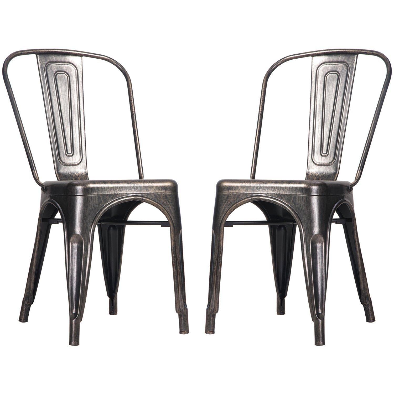 steel chair amazon best desk chairs reddit merax high back stackable vintage metal dining
