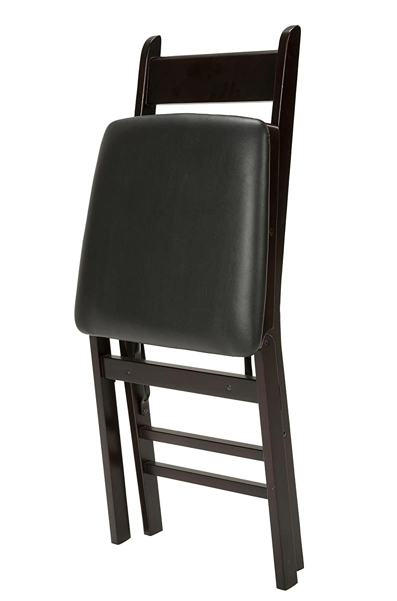 Cosco Folding Chair Cosco 2 Pack Wood Folding Chair With Vinyl Seat And Ladder Back