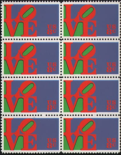 LOVE SCULPTURE #1475 Block of 8 x 8¢ US Postage Stamps