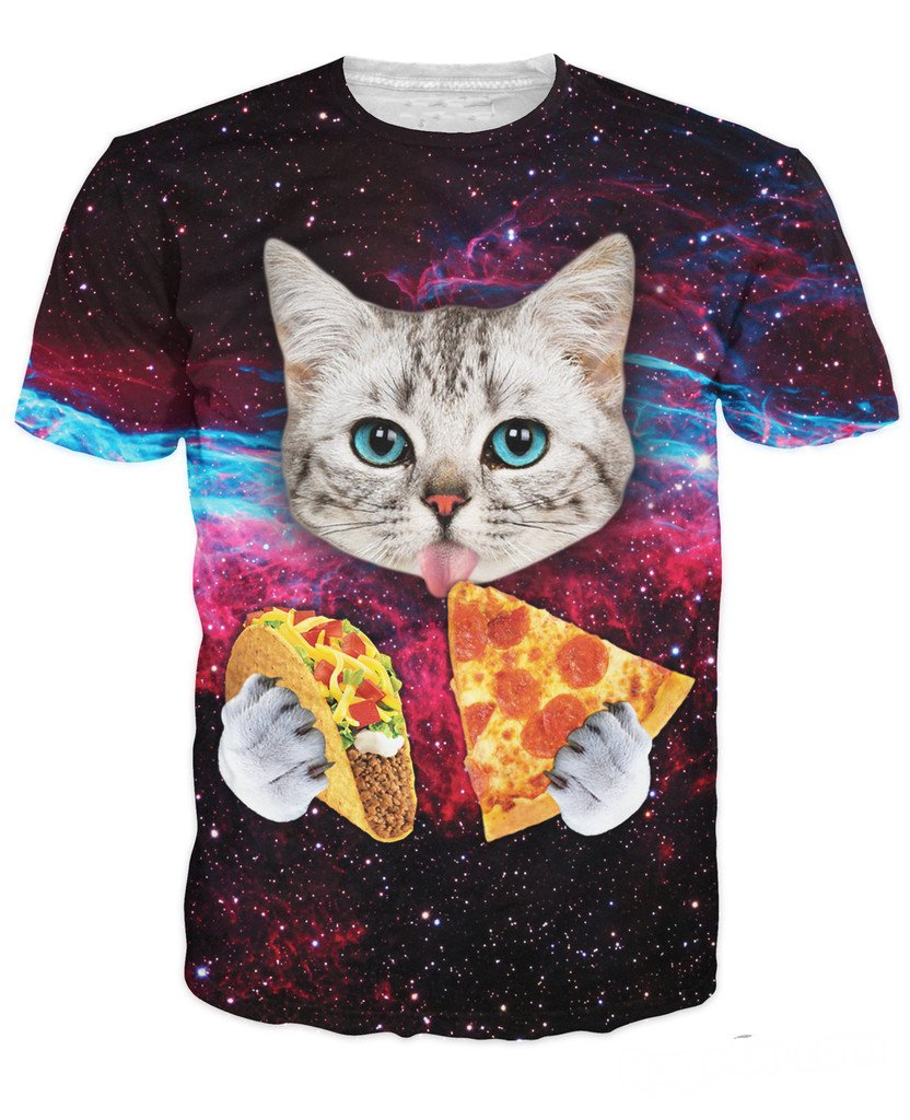 GLucky Cat cute with blue eyes eating tacos pizza in space galaxy t shirt