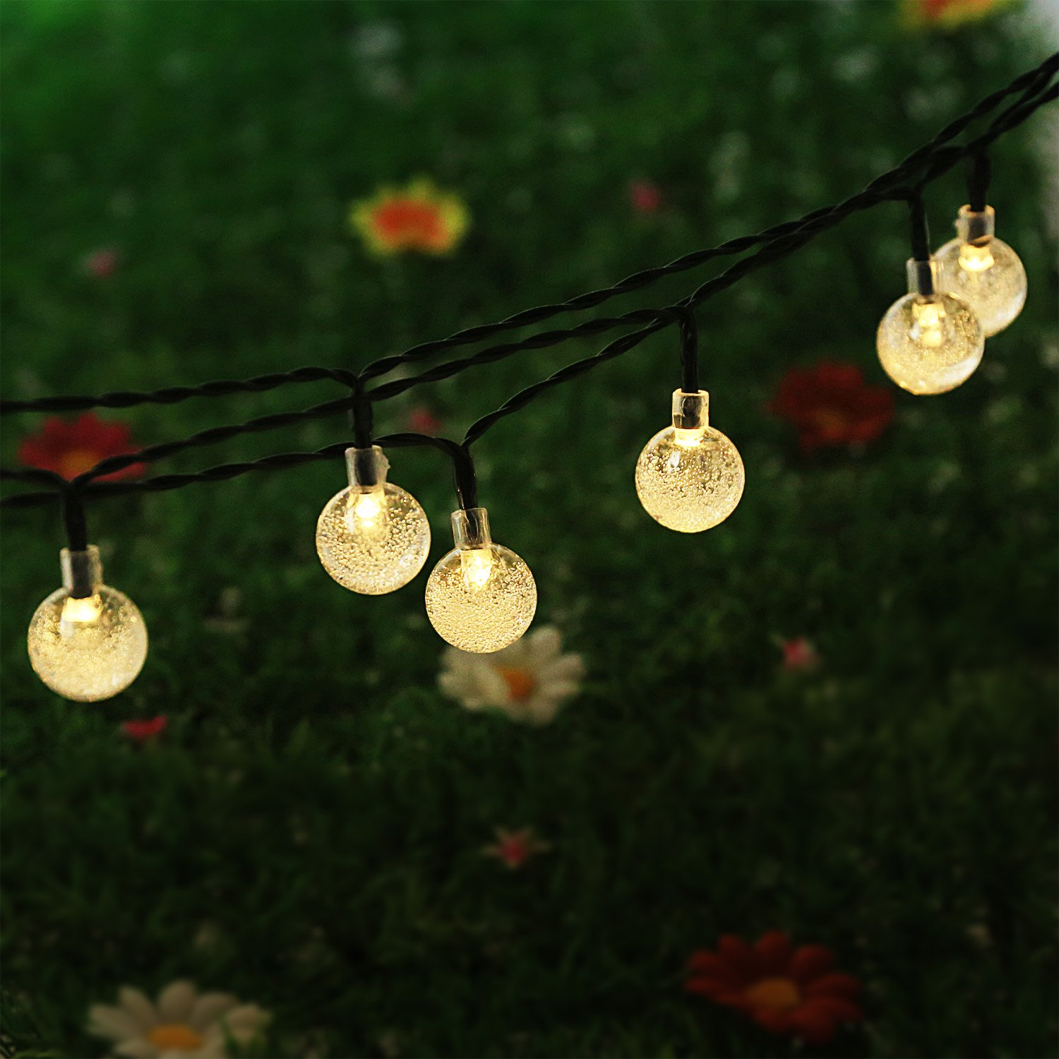 NEWSTYLE 164Ft 30 LED Crystal Ball Solar Powered Outdoor String Lights for O