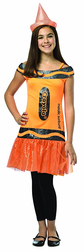 Rasta Imposta Crayola Metallic Sunburst Glitz & Glitter Dress, Orange, Tween 10-12