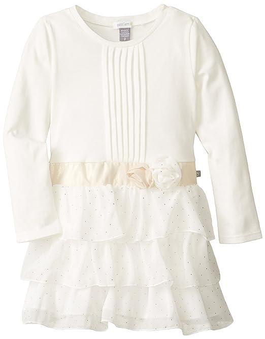 Petit Lem Little Girls' White Winter Long Sleeve Knit Woven Dress, Cream/Gold, 4