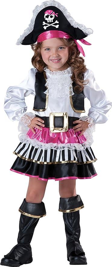 InCharacter Baby Girl's Pirate Girl Costume, Pink/White, 2T