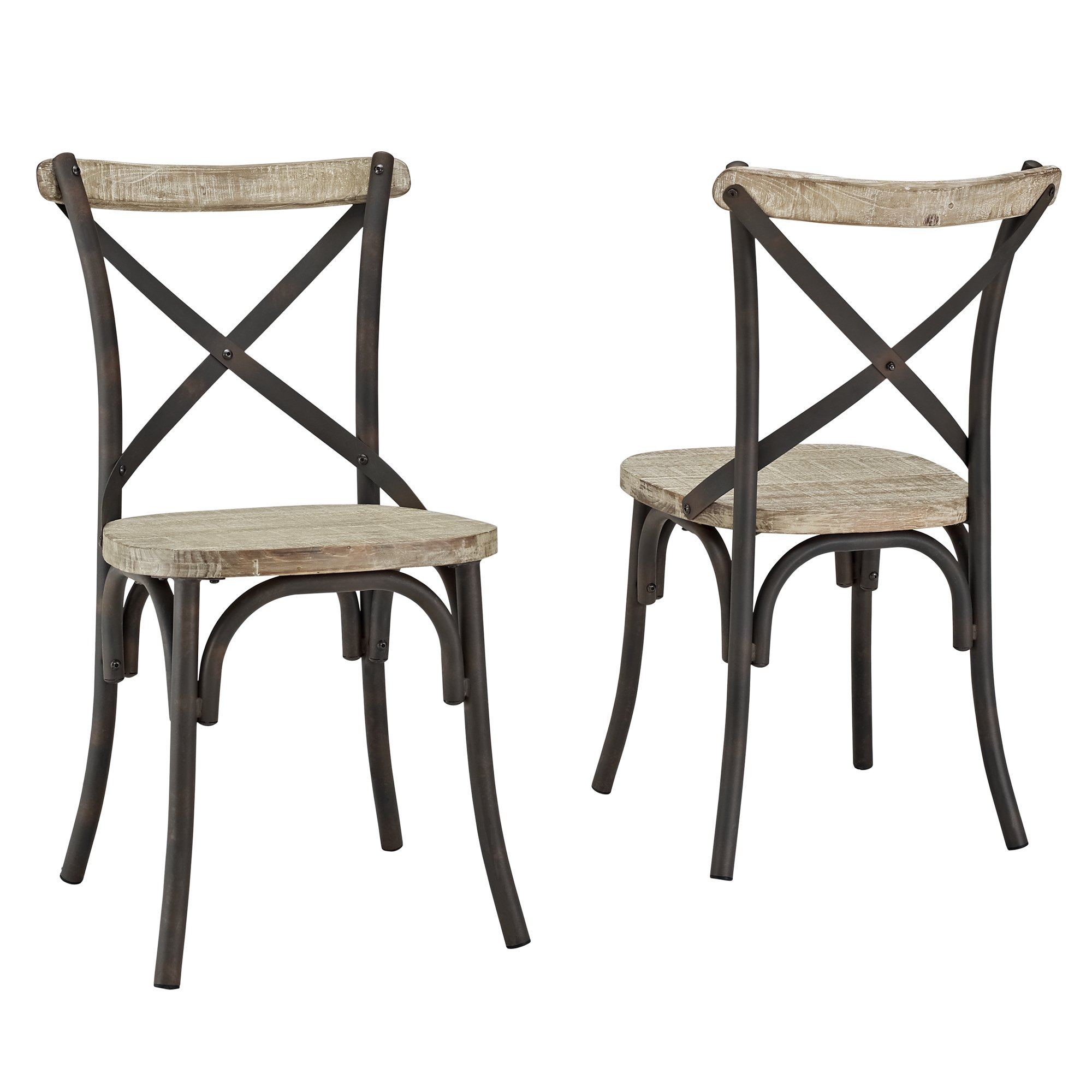 metal and wood chairs pattern for chair slipcover industrial reclaimed solid dining set of 2