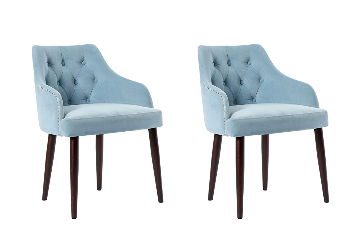 Aqua Dining Chairs Caojin Classic Fabric Tufted Upholstered Dining Chair With Solid