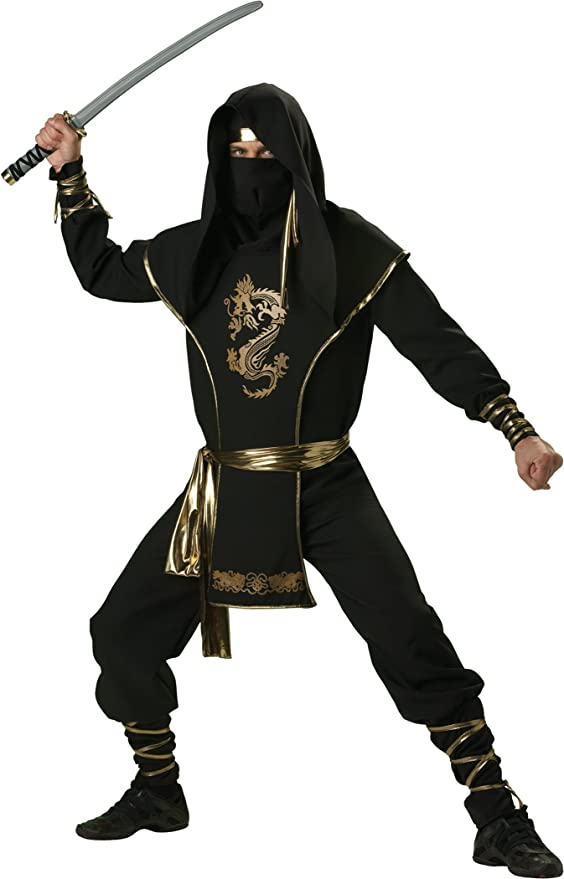 InCharacter Costumes Men's Ninja Warrior Costume Black/Gold, X-Large