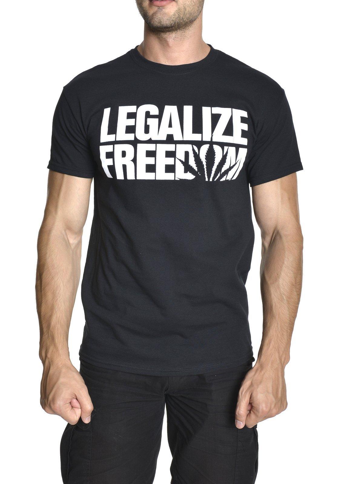Legalize Freedom Weed Smoking Marijuana Cool Gift Novelty T-Shirt Black