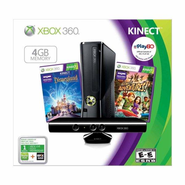 Xbox 360 Kinect Console 4gb Holiday Bundle Disneyland Adventures Games