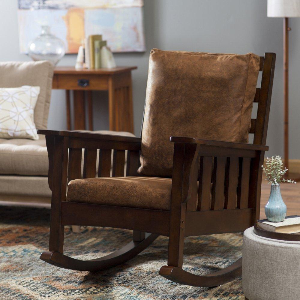 wooden chair cushions dining end chairs belham living remington mission rocker - walnut