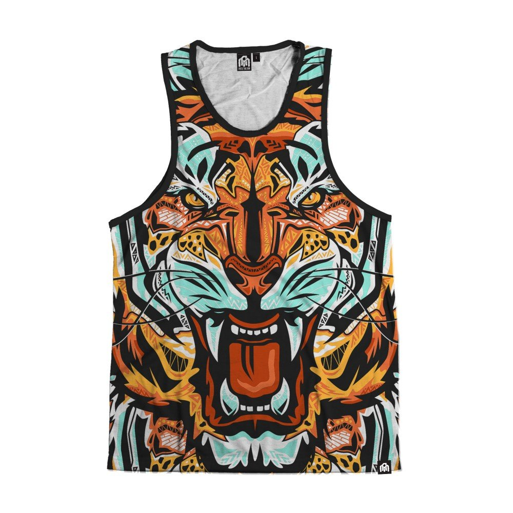 INTO THE AM Fractal Tiger All Over Print Rave Tank