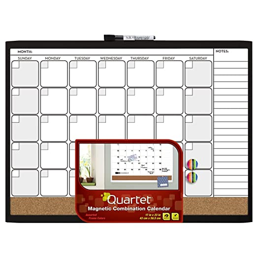 Quartet Magnetic Combination Calendar Board, 17 x 23 Inches, Dry Erase and Cork, 1-Month Design with List, Black Frame (79380-WM)