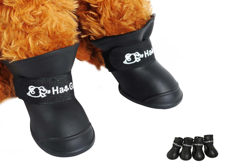 Surfwheel 4pcs Cute Pet Paw Protective Puppy Waterproof Boots Anti Slip Adjustable Rubber Pet Cat Rain Snow Boots